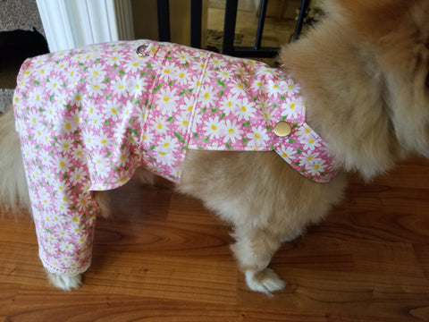 Pink Daisy Overalls for Dogs