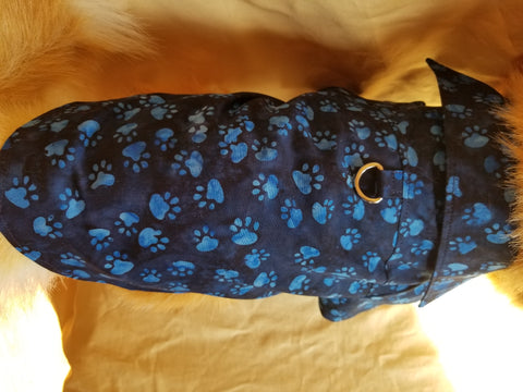 Blue Paw Print Dress Shirt for Dogs