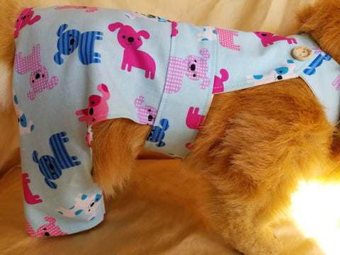 Pink and Blue Overalls for Dogs