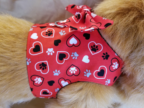 Red Heart Dog Harness with Bow Tie