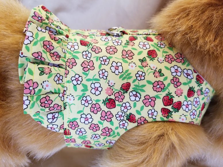 Cute Strawberry Dog Harness with Ruffle