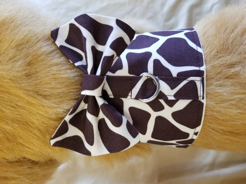 Giraffe Print Dog Harness with Bow Tie