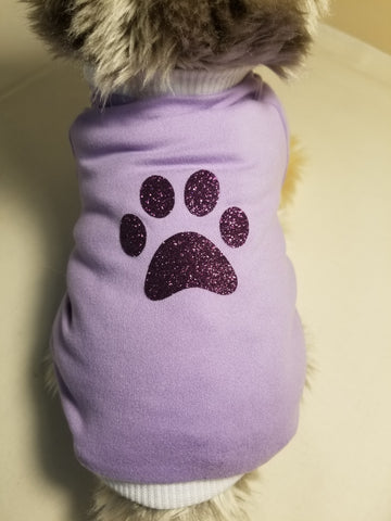 Purple Glitter Paw Dog T Shirt