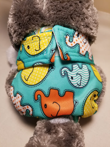 Colorful Elephant Print Reusable Dog Diaper