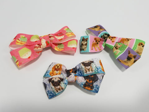 Cupcakes & Puppies Pretty Ribbon Bows for Dogs Hair Accessories - Set of 3