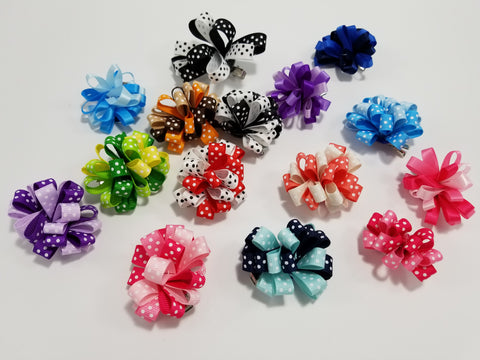Pom Pom Ribbon Bows for Dogs Hair Accessories - Set of 2