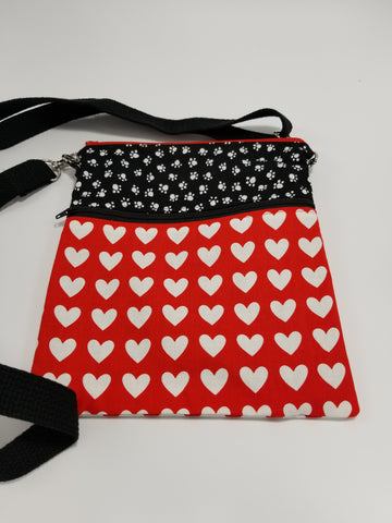 Dog Walker Essentials Crossbody Bag Purse Red & Black