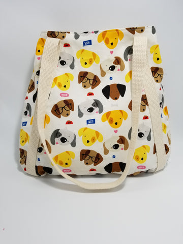Woof Dog Faces Tote Bag White