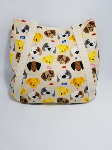 Woof Dog Faces Tote Bag Cream