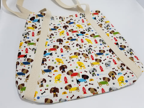 Dogs at Play Tote Bag White