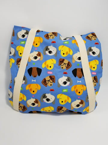 Woof Dog Faces Tote Bag Blue