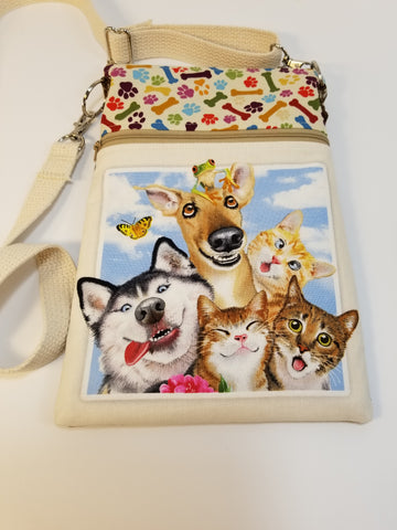 Funny Face Dog Walker Essentials Crossbody Bag Purse Husky
