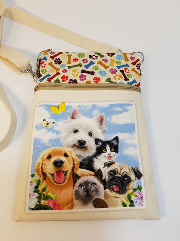 Smiling Dogs Dog Walker Essentials Crossbody Bag Purse Westie Pug