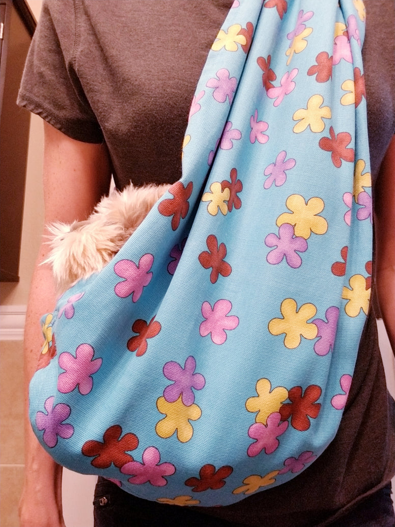 Blue Floral Reversible Sling Carrier for Dogs