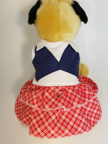 School Girl Dog Dress Uniform with Vest and Skirt