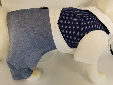 School Boy Dog Dress Shirt Uniform with Vest and Pants