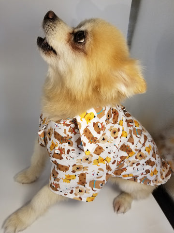 Puppies on White Dress Shirt for Dogs
