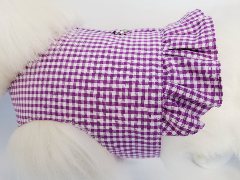 Violet Gingham Dog Harness with Ruffle