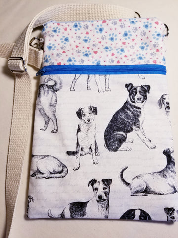 Sketched Dogs Crossbody Bag / Dog Walker Purse Paws and Hearts