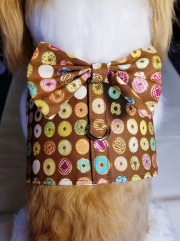 Chocolate Donut Dog Harness with Bow Tie