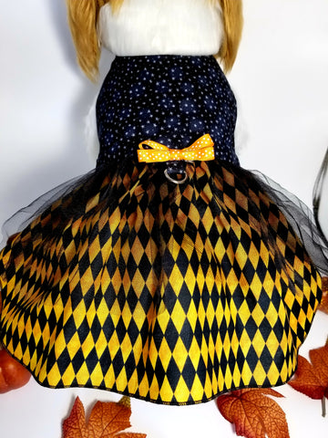 Halloween Harlequin Dog Dress
