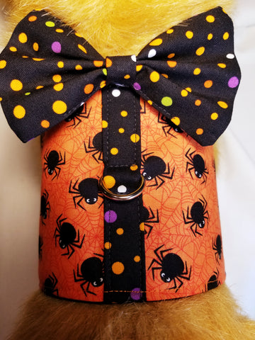 Spooky Spider Halloween Dog Harness with Bow Tie