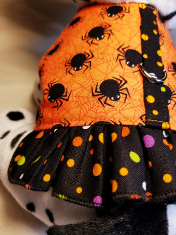 Spooky Spider Halloween Dog Harness with Ruffle
