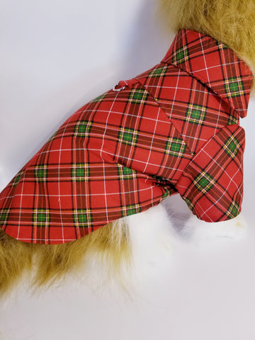 Red and Green Plaid Dress Shirt