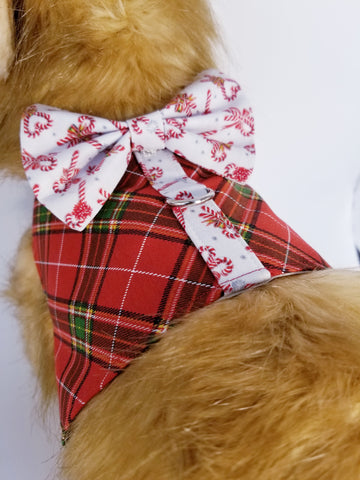 Red and Green Christmas Dog Harness with Bow Tie