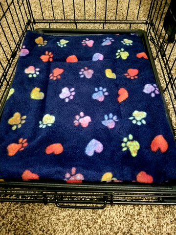 Fleece Dog Bed/Crate Mat Blue with Rainbow Paws