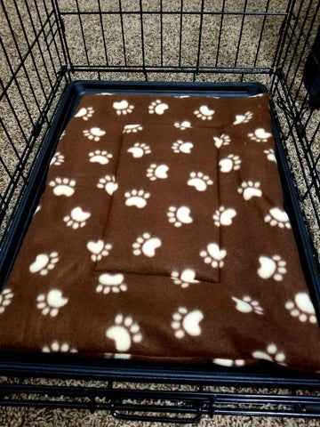 Fleece Dog Bed/Crate Mat Chocolate Brown Paw