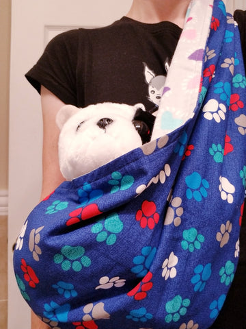 Blue Paws and Hearts Reversible Sling Carrier