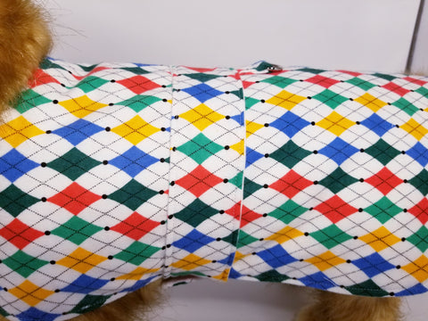Colorful Argyle Handmade Dog Coat