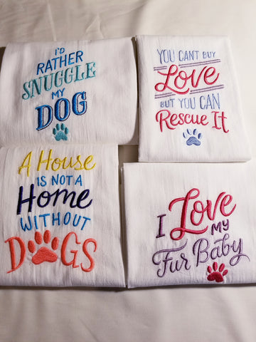 Dog and Cat Theme Embroidered Kitchen Towel Flour Sack Towel - Natural