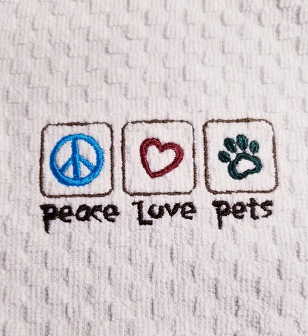 Dog and Cat Theme Embroidered Kitchen or Bathroom Waffle Weave Towel