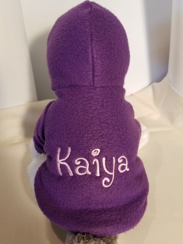 Purple Fleece Personalized Embroidered Your Dog's Name Dog Hoodie