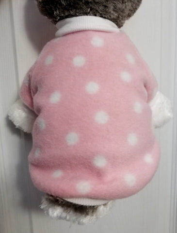 Pink Polka Dot Fleece Dog Sweater Sweatshirt