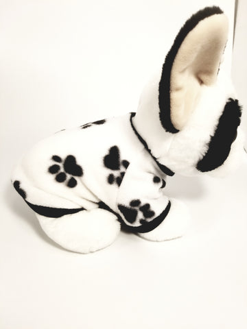 Black & White Paw Print Fleece Dog Sweater Sweatshirt
