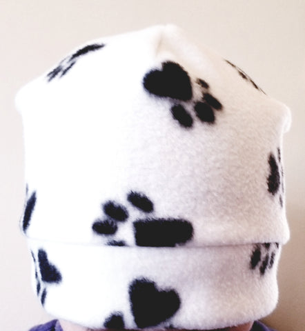 Black and White Paw Print Fleece Winter Hat