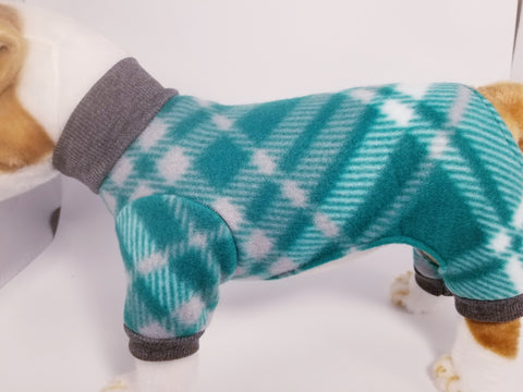 Green and Gray Checkered Fleece Dog or Cat Pajamas
