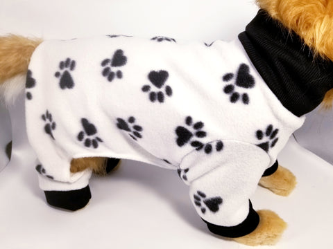 Black and White Paw Print Fleece Dog or Cat Pajamas