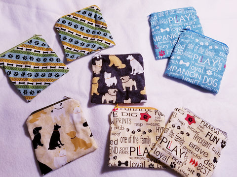 Dog Theme Zipper Coin Pouch
