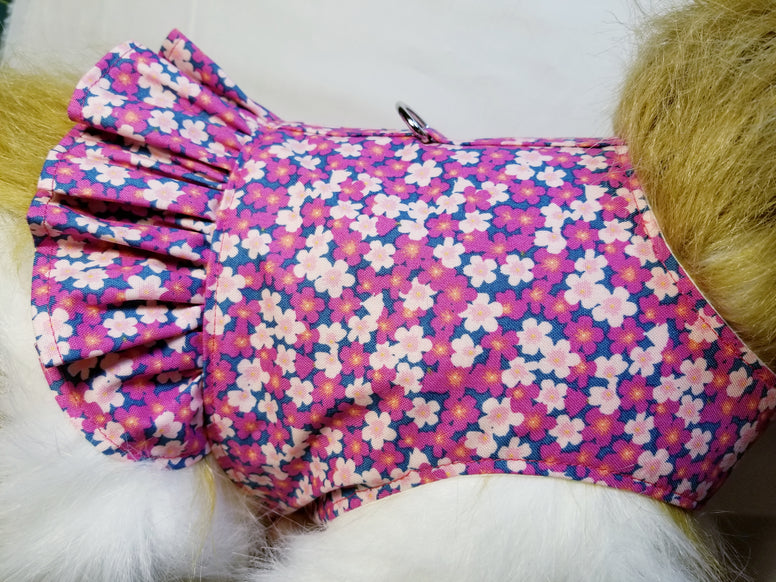 Pink Floral Dog Harness with Ruffle