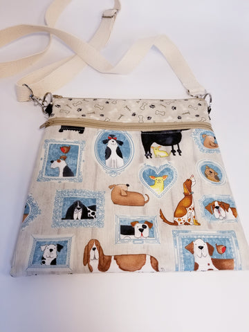Dog Portraits Beige Crossbody Bag / Dog Walker Purse