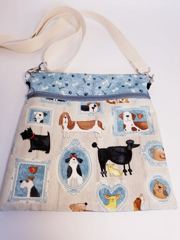 Dog Portraits Blue Crossbody Bag / Dog Walker Purse