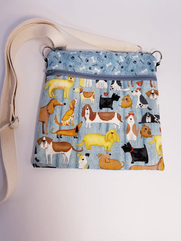 Adorable Dogs Blue Crossbody Bag / Dog Walker Purse