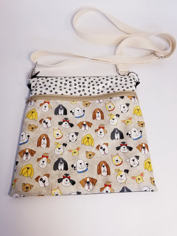 Dog Faces Crossbody Bag / Dog Walker Purse