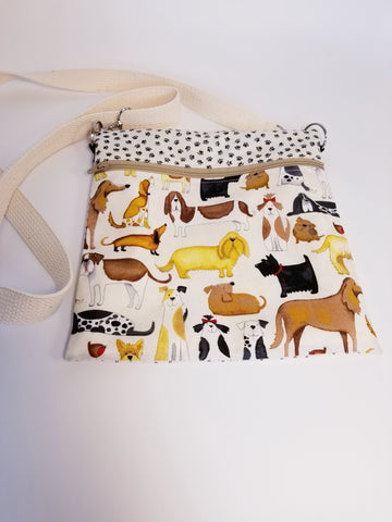Adorable Dogs Beige Crossbody Bag / Dog Walker Purse