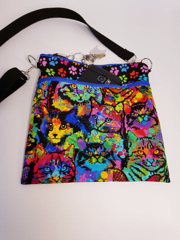 Painted Colorful Cats Kitty Crossbody Bag Purse