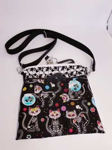 Sugar Skull Cats Kitty Crossbody Bag Purse